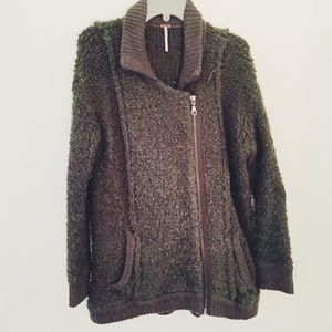 Free People Fuzzy Olive Green Zip Up